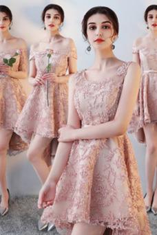 Vestido de dama de honor Encaje Asimétrico Dobladillo Sin mangas Drapeado Escote con Hombros caídos