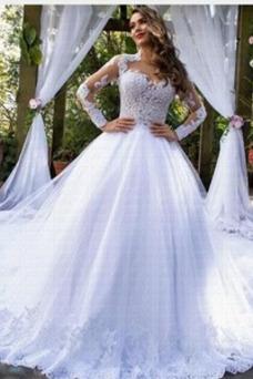 Vestido de novia Encaje Triángulo Invertido Elegante Manga larga tul
