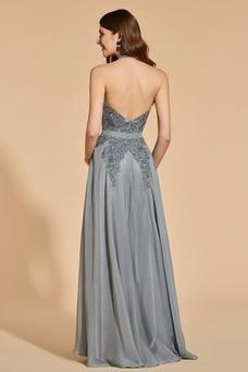 Vestido de fiesta Elegante Capa de encaje Escote con cuello Alto Corte-A