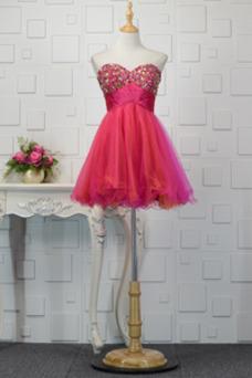 Vestido de cóctel Corte-A Escote Corazón Pera Natural tul Abalorio