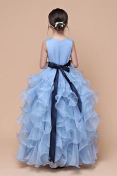Vestido niña ceremonia Hinchado Corte-A Falta Organza Natural Joya