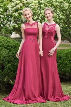 Vestido de dama de honor Falta Sin mangas Corte-A Capa de encaje Moderno largo