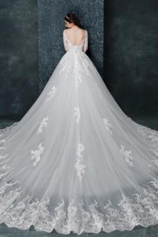 Vestido de novia Escote con Hombros caídos Formal Apliques Encaje Fuera de casa