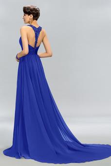 Vestido de noche largo Corte-A Natural Abalorio Espalda medio descubierto