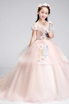 Vestido niña ceremonia Formal Corte-A Verano Natural Sin mangas Apliques