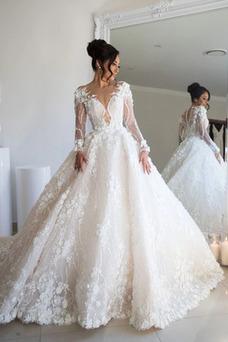 Vestido de novia Manga larga Falta Escote en V Cremallera largo Apliques
