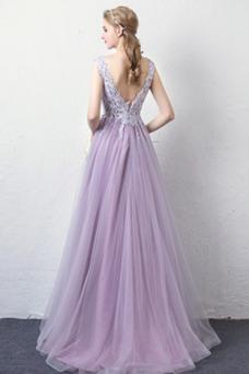 Vestido de noche Encaje Espalda Descubierta Verano Natural Elegante