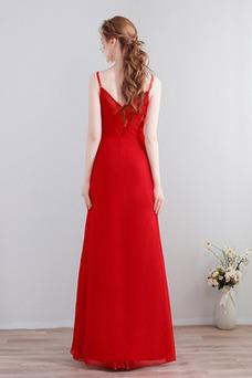 Vestido de dama de honor Hasta el Tobillo Natural Drapeado Elegante Escote de Tirantes Espaguetis