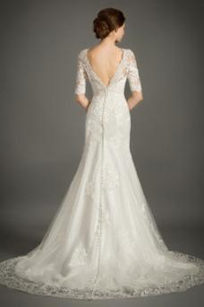 Vestido de novia Encaje Cremallera Triángulo Invertido Sala Corte Sirena