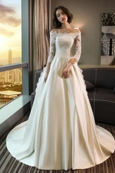 Vestido de novia Encaje Otoño Manga de longitud 3/4 Natural Encaje Escote con Hombros caídos