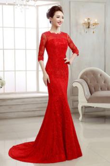 Vestido de novia Elegante Cordón Manga de longitud 3/4 Iglesia Capa de encaje