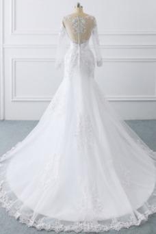 Vestido de novia Manga larga Cremallera Drapeado tul Natural Iglesia