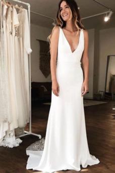 Vestido de novia Sencillo Sin mangas Encaje Encaje Escote en V Baja escote en V