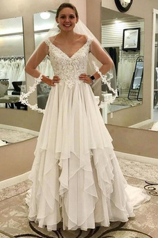Vestido de novia Falta Gasa Natural Escote en V Pura espalda Verano
