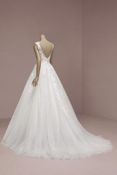Vestido de novia Baja escote en V Capa de encaje Hasta el suelo primavera