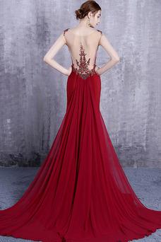 Vestido de noche Invierno Corte Sirena Gasa Sencillo Pura espalda Triángulo Invertido