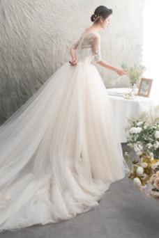 Vestido de novia Pera Iglesia Cremallera Otoño Manga de longitud 3/4