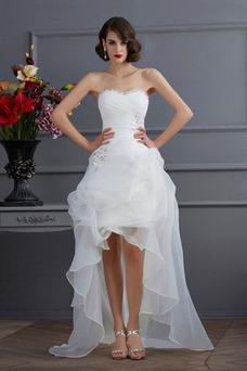 Vestido de novia Sin mangas Dobladillos Cintura Baja Escote Corazón