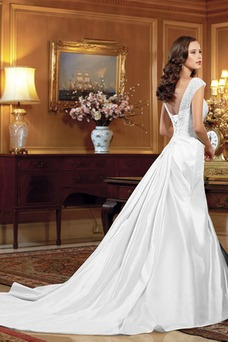 Vestido de novia Escote Corazón Manga corta Romántico Cordón Sala Abalorio