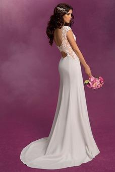 Vestido de novia Corte Sirena Apliques Modesto Cremallera Satén Elástico