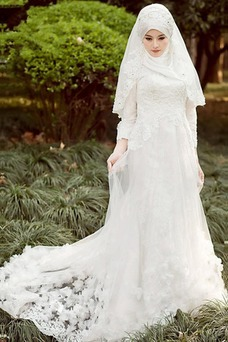 Vestido de novia Manga larga Corte-A Con velo Escote con cuello Alto