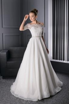 Vestido de novia Escote con Hombros caídos Manga corta Otoño Corte-A