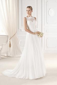 Vestido de novia Elegante Corte-A Alto cubierto Barco Gasa Apliques