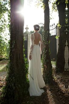 Vestido de novia Barco Mangas Illusion Fuera de casa Natural Gasa Encaje