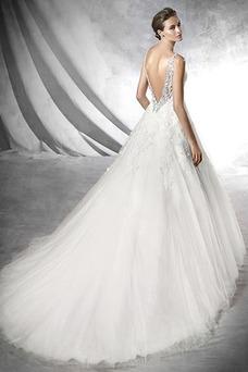 Vestido de novia primavera Con velo Apliques Sin mangas Cola Capilla