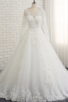 Vestido de novia Iglesia Natural Corte-A Triángulo Invertido Cordón