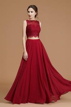 Vestido de dama de honor Encaje Natural Capa de encaje Hasta el Tobillo Corte-A