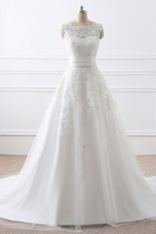 Vestido de novia Natural Cola Corte Corte-A Sin mangas Capa de encaje