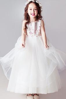 Vestido niña ceremonia Corte-A Natural Drapeado Hasta el Tobillo tul Joya
