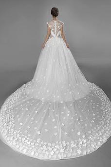 Vestido de novia Flores Fuera de casa Manga corta Joya Corte-A Natural