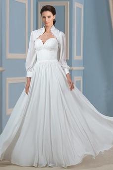 Vestido de novia Apliques Rectángulo Gasa Cola Barriba Cremallera Manga larga