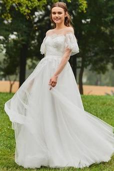 Vestido de novia Escalonado Otoño Cremallera Barco Encaje Cola Barriba