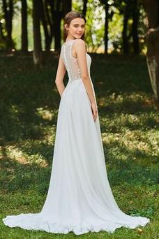 Vestido de novia Romántico Natural Escote en V largo Botón Sin mangas