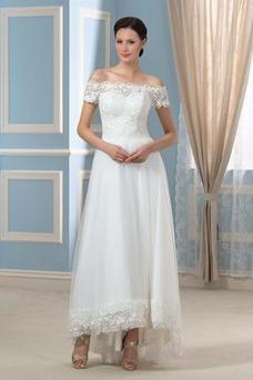 Vestido de novia Moderno Asimétrico Dobladillo Manga corta Espalda Descubierta
