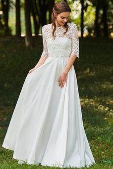 Vestido de novia Natural Joya Espalda Descubierta Con Chaqueta Mangas Illusion