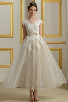 Vestido de novia Manga corta Escote en V Hasta la Tibia Reloj de Arena