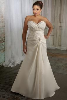Vestido de novia Tallas grandes Otoño Natural Plata Corte-A Plisado