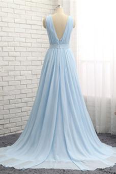 Vestido de noche Gasa Escote en V Natural Corte-A largo Blusa plisada