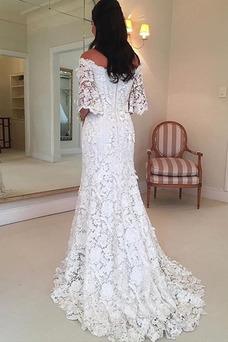 Vestido de novia Encaje Manga corta Capa de encaje Corte-A Cremallera
