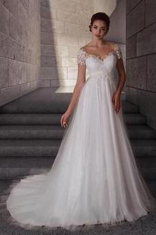 Vestido de novia Elegante tul Escote redondo Fuera de casa Mangas Illusion