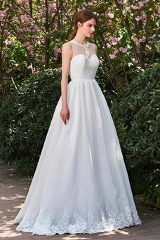 Vestido de novia vendimia Sin tirantes Fuera de casa Natural Capa de encaje