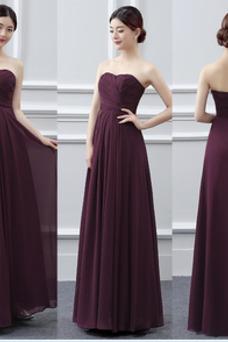 Vestido de dama de honor Plisado Gasa Sin mangas Blusa plisada Natural Corte-A