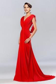 Vestido de noche Espalda Descubierta Blusa plisada Corte-A Elegante