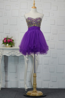 Vestido de cóctel Corte-A vendimia Escote Corazón Cristal Natural Falta