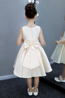 Vestido niña ceremonia Lazos Sin mangas Verano Satén Joya Corte-A