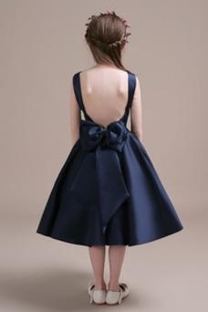 Vestido niña ceremonia Corte-A Lazos Arco Acentuado Satén Formal primavera